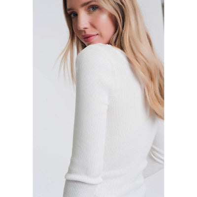 White Knitted Wide Neck Sweater - Miraposa