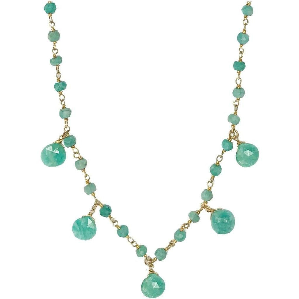 Amazonite Necklace with Teardrop - 14k Gold Vermeil