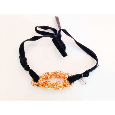 18kt Gold Plated Knot and Black Velvet Choker Necklace - Miraposa