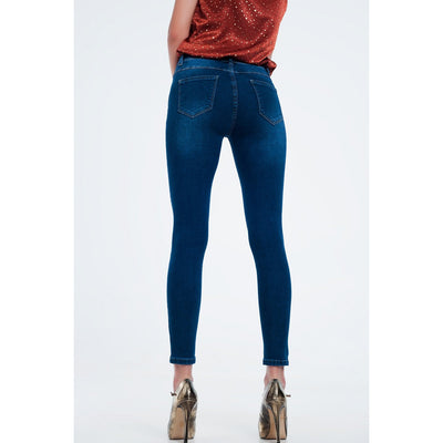 High Rise Premium Jeans in Dark Wash Blue - Miraposa