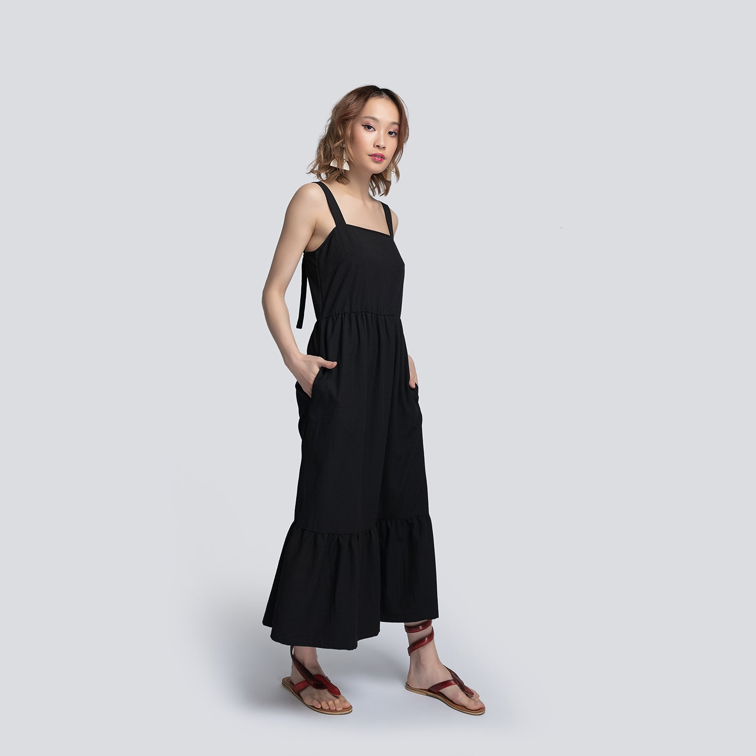 Gabriella Tiered Black Sundress - Miraposa