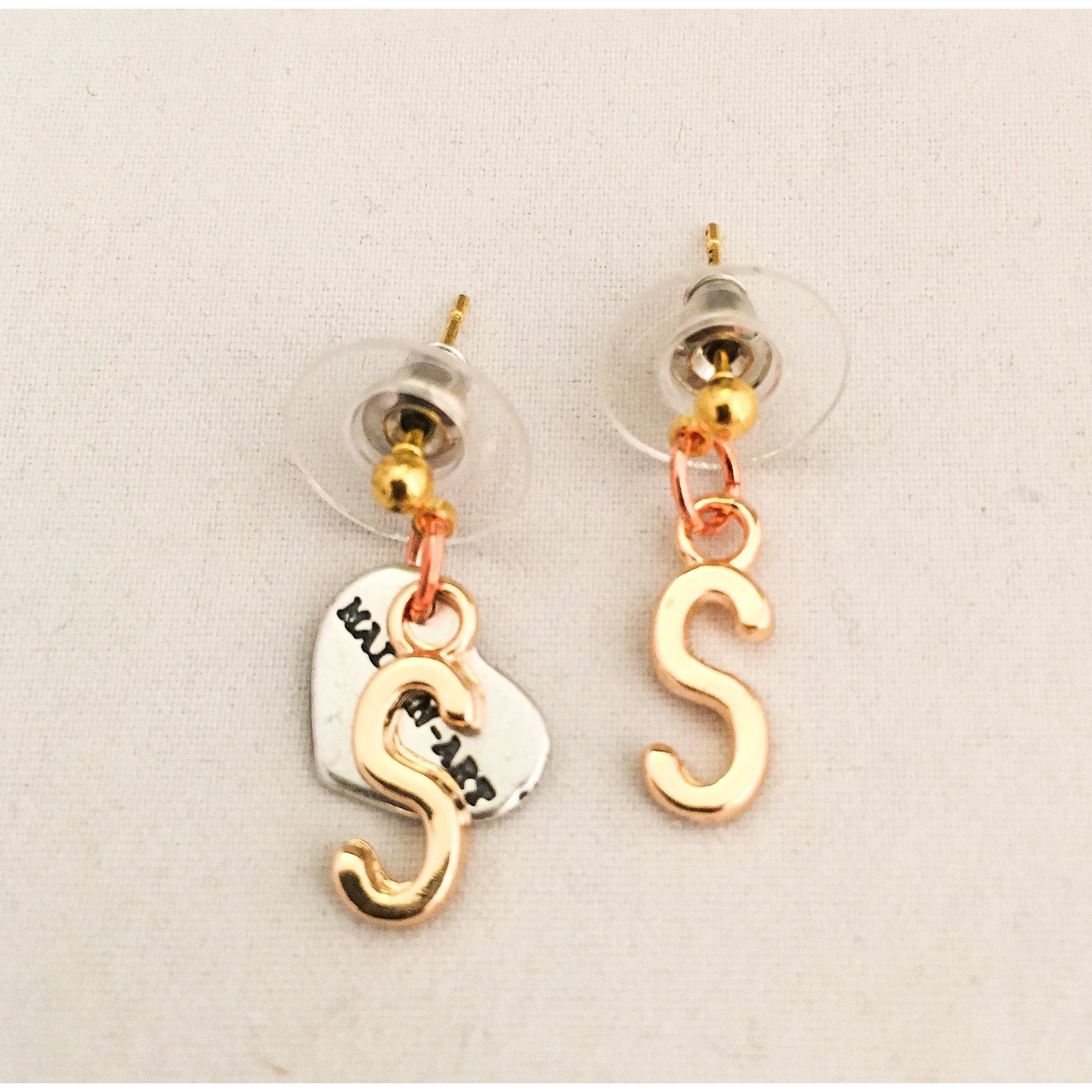 Initial Earrings Stud in 18kt Gold Plated Brass