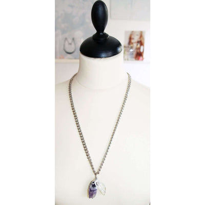 Silver Necklace With Amethyst and Rock Crystal Stones - Miraposa
