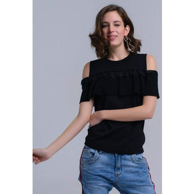 Black Cold Shoulder Sweater with Ruffle and Lace - Miraposa