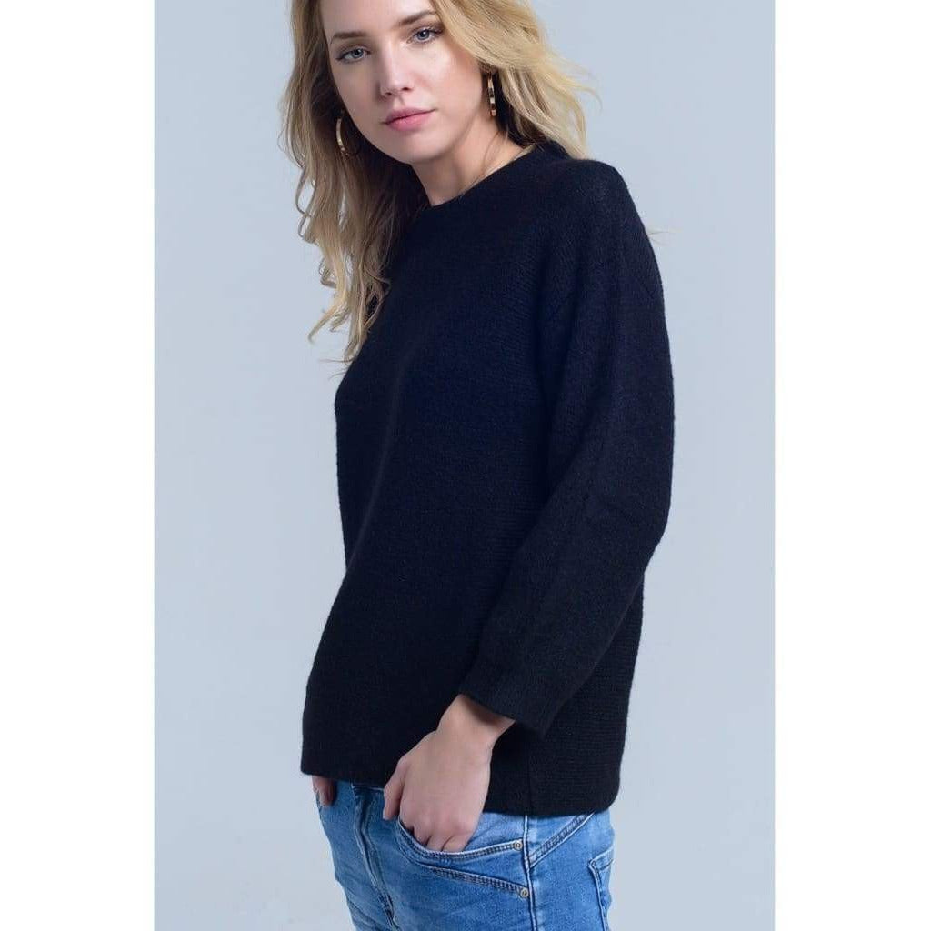 Black Knit Crew Neck Sweater