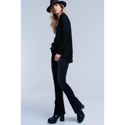Black Ribbed V-Neck Sweater with Side Splits - Miraposa