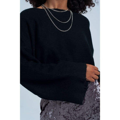 Black Short Knit Sweater - Miraposa