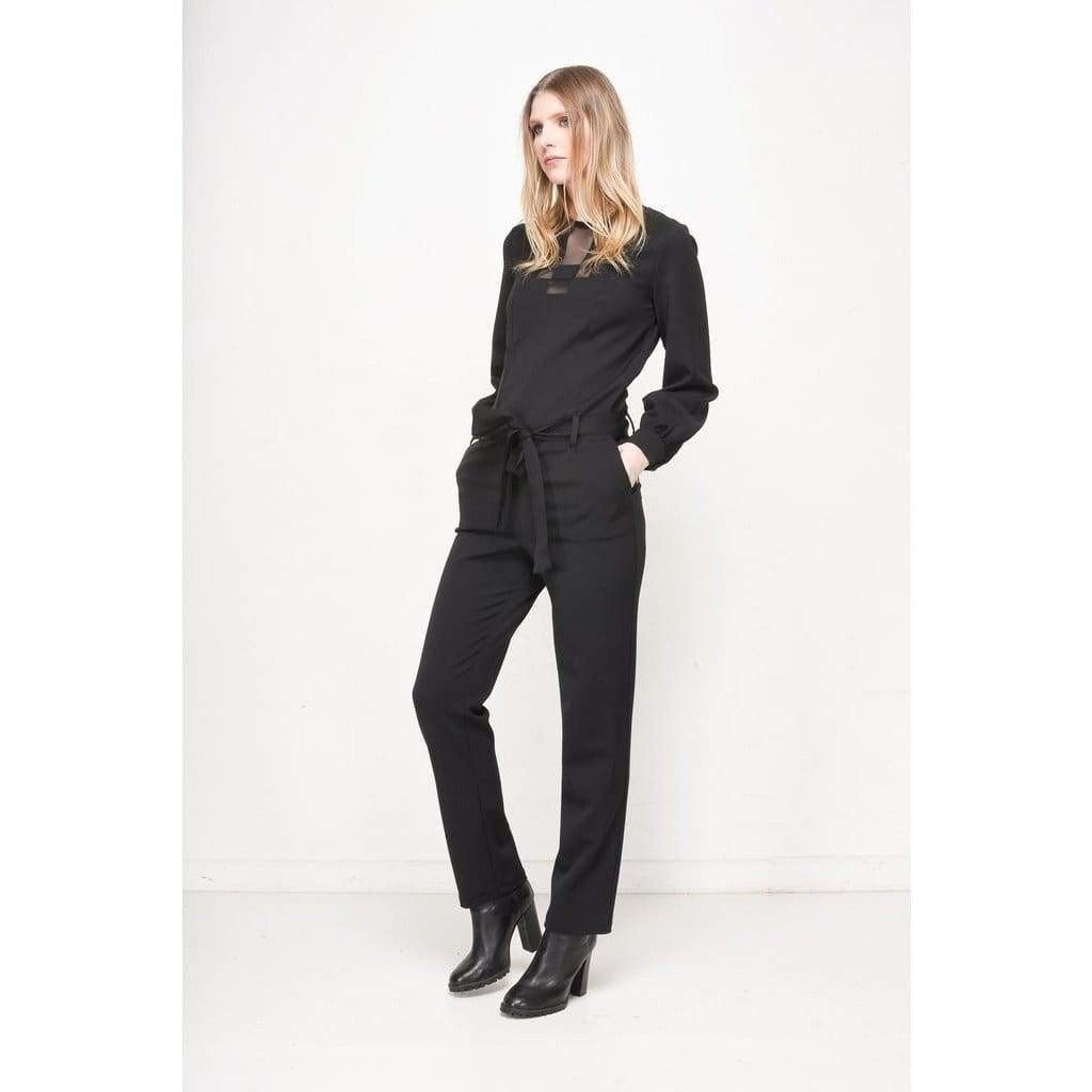 Black Vasa Jumpsuit with Mesh Panels