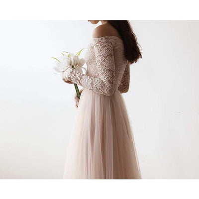 Blush Off-The-Shoulder Lace and Tulle Maxi Dress - Miraposa