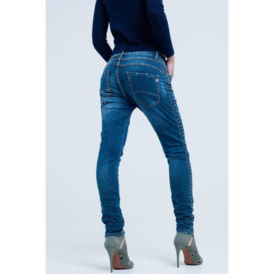 Boyfriend Blue Jeans with Tacks Detail - Miraposa