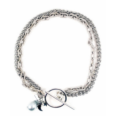Silver Choker With Light Blue Pearl and Black Moon - Miraposa