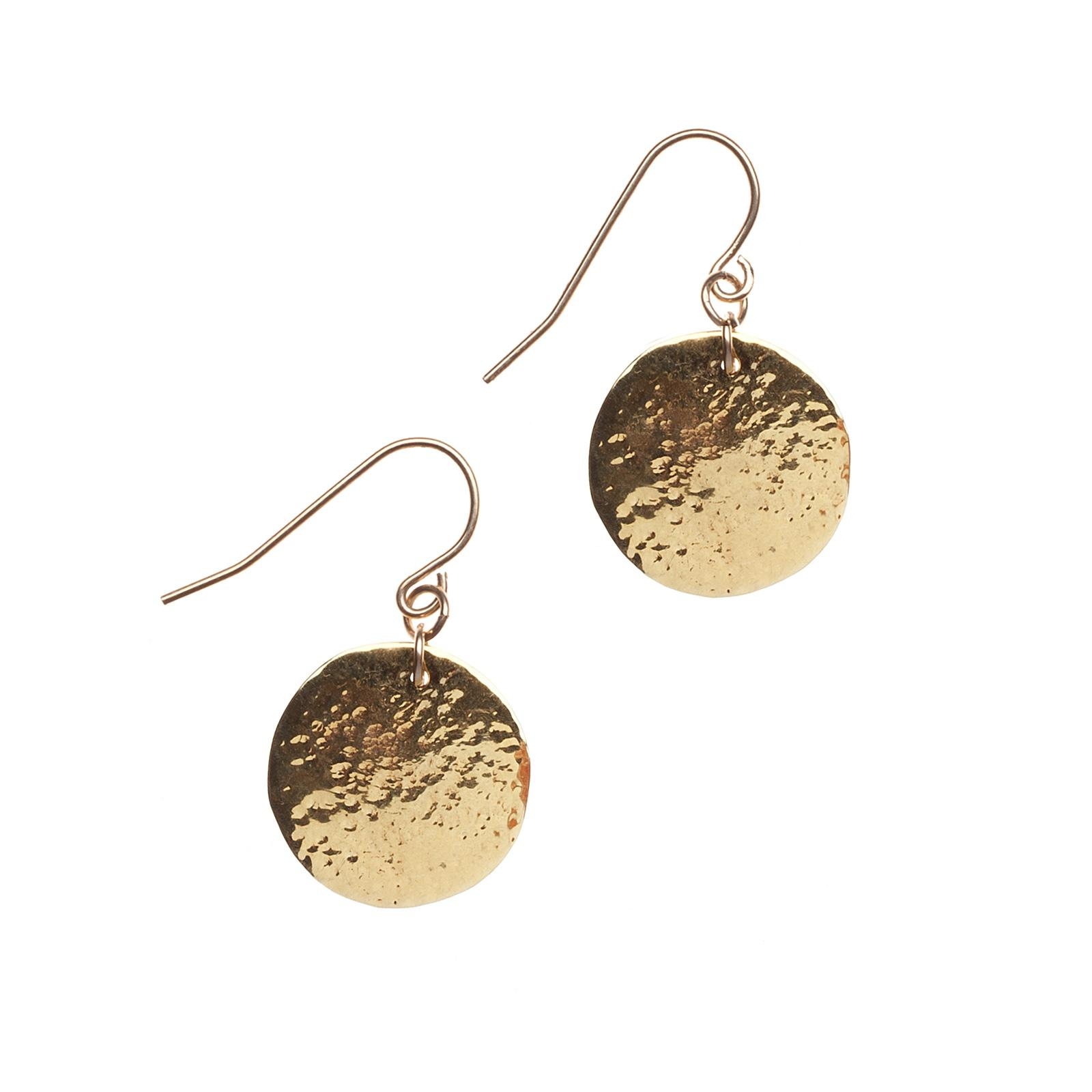 Gold Hammered Coin Earrings - Miraposa