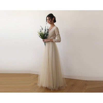 Champagne  Tulle and Lace Long Sleeve Wedding Dress - Miraposa