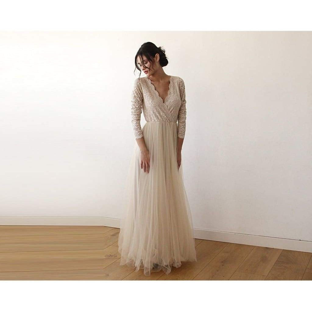 Champagne  Tulle and Lace Long Sleeve Wedding Dress