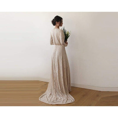 Champagne Wrap Floral Lace Long Sleeve Gown with a Train - Miraposa
