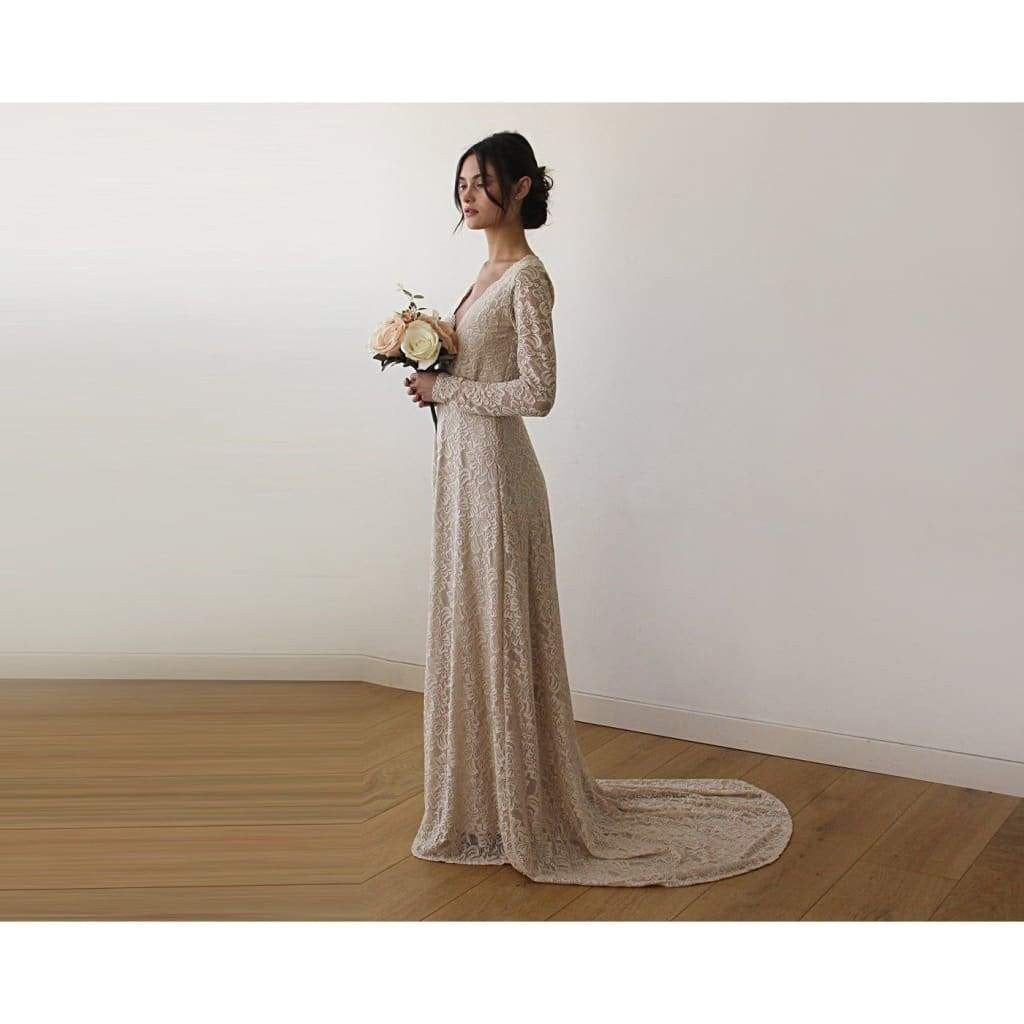 Champagne Wrap Floral Lace Long Sleeve Gown with a Train
