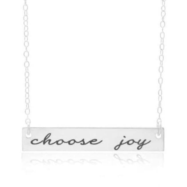 """Choose Joy"" Personalized Horizontal Bar Necklace - Hand Stamped"
