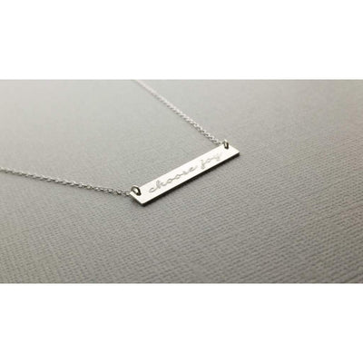 """Choose Joy"" Personalized Horizontal Bar Necklace - Hand Stamped - Miraposa"