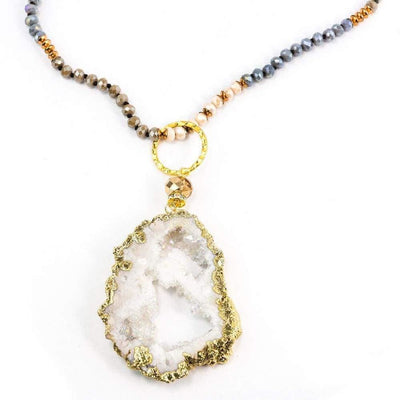 Courtney 5 Way Druzy Beaded Necklace in Ivory - Miraposa