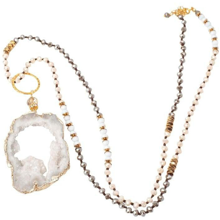 Courtney 5 Way Druzy Beaded Necklace in Ivory