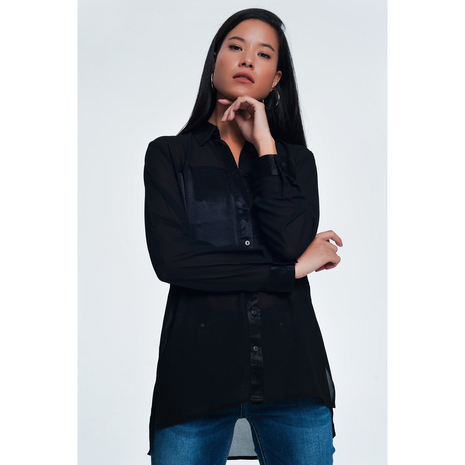 Black Satin Long Sleeve Button-Down Blouse - Miraposa