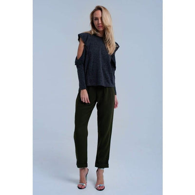 Dark Gray Ruffle and Open Detail Top - Miraposa