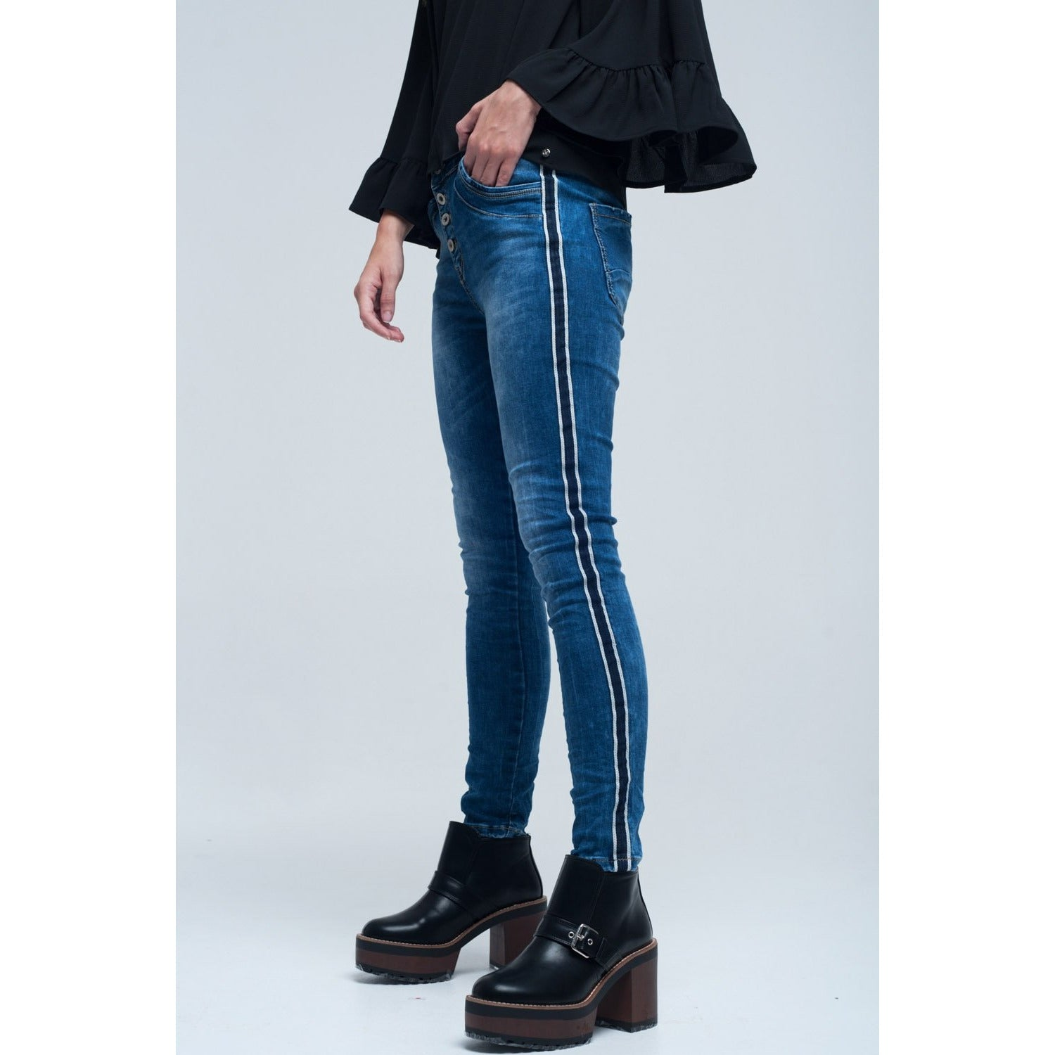 Jeans Skinny With Stripes on the Side - Miraposa
