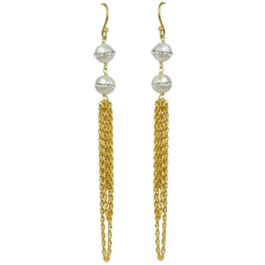 Double White Freshwater Pearl Earrings - Miraposa