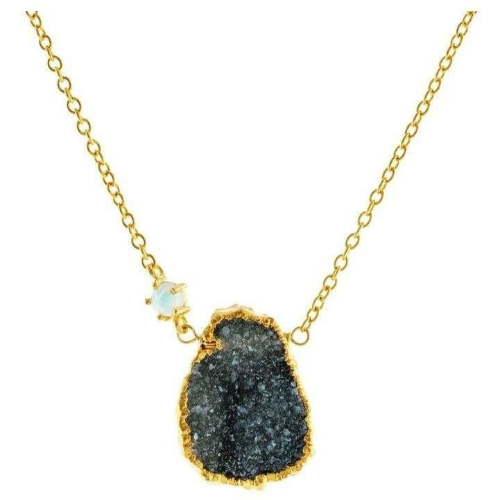 Druzy-Quartz & Opal Necklace