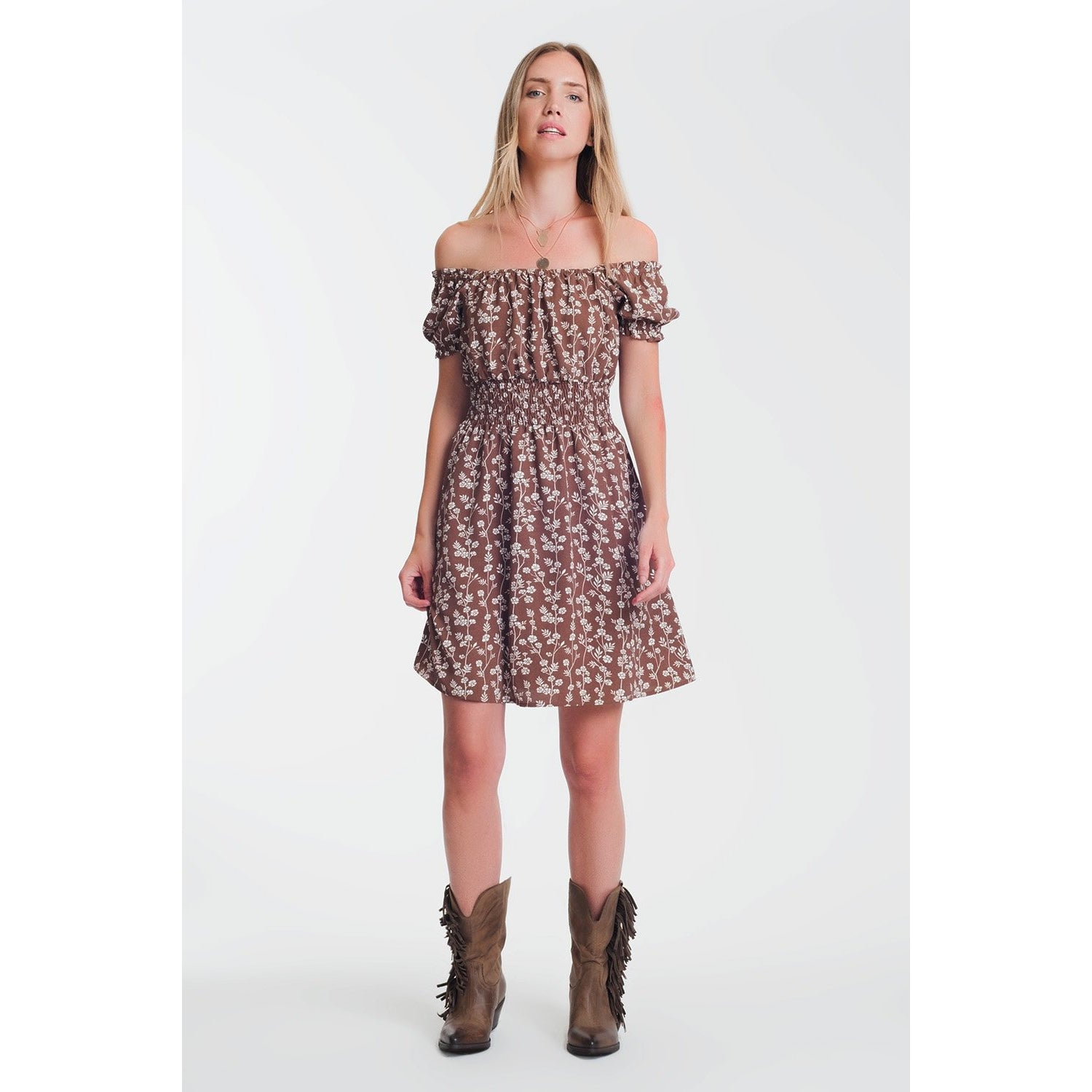 Brown Mini Bardot Dress in Floral Print - Miraposa