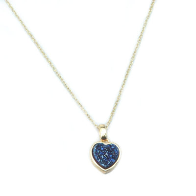 Heart Druzy Necklace in Gold - Miraposa