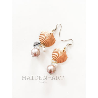 Statement Earrings With Shell Charms and Pearls - Miraposa