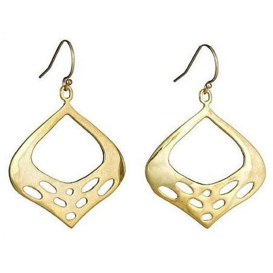 The V Collection earrings gold plated smoky oxidized designer dangling earrings