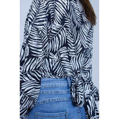Leaf Print Wrap Blouse in Navy - Miraposa