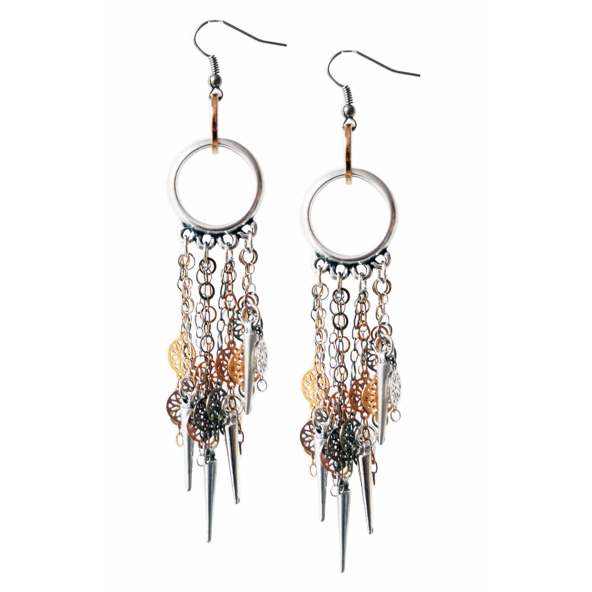 Silver Chandelier Earrings in Flower Chains With Studs - Miraposa
