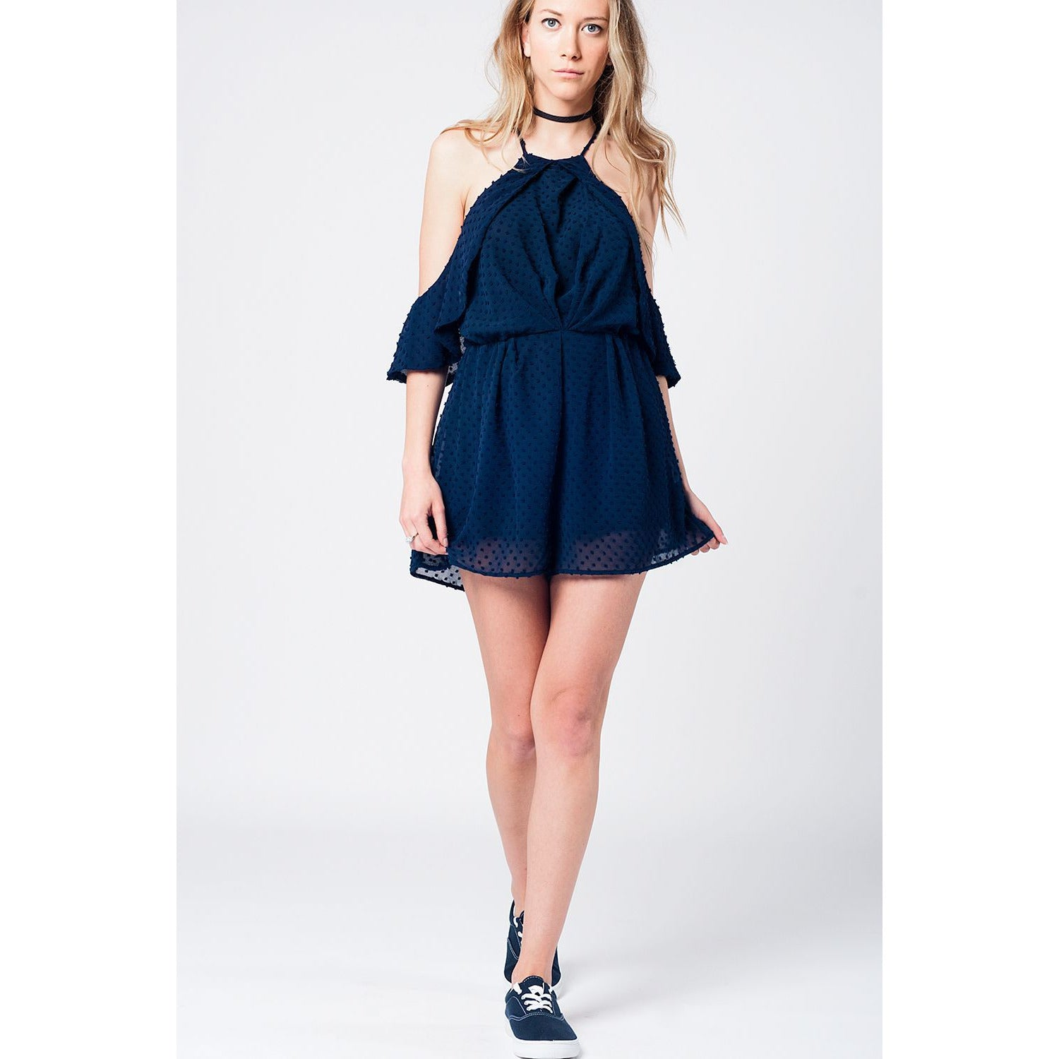 Navy Plummet Cold-Shoulder Romper - Miraposa