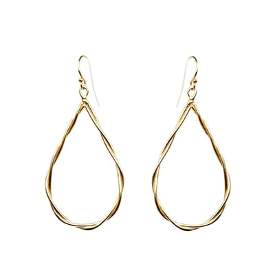 Twisted Rope Tear Drop Earrings - Gold - Miraposa