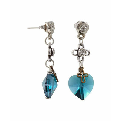Deep Blue Crystals Drop Earrings - Miraposa