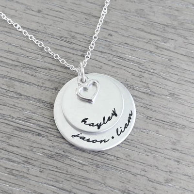 Personalized Necklace With Two Disc & Heart Charm - Miraposa