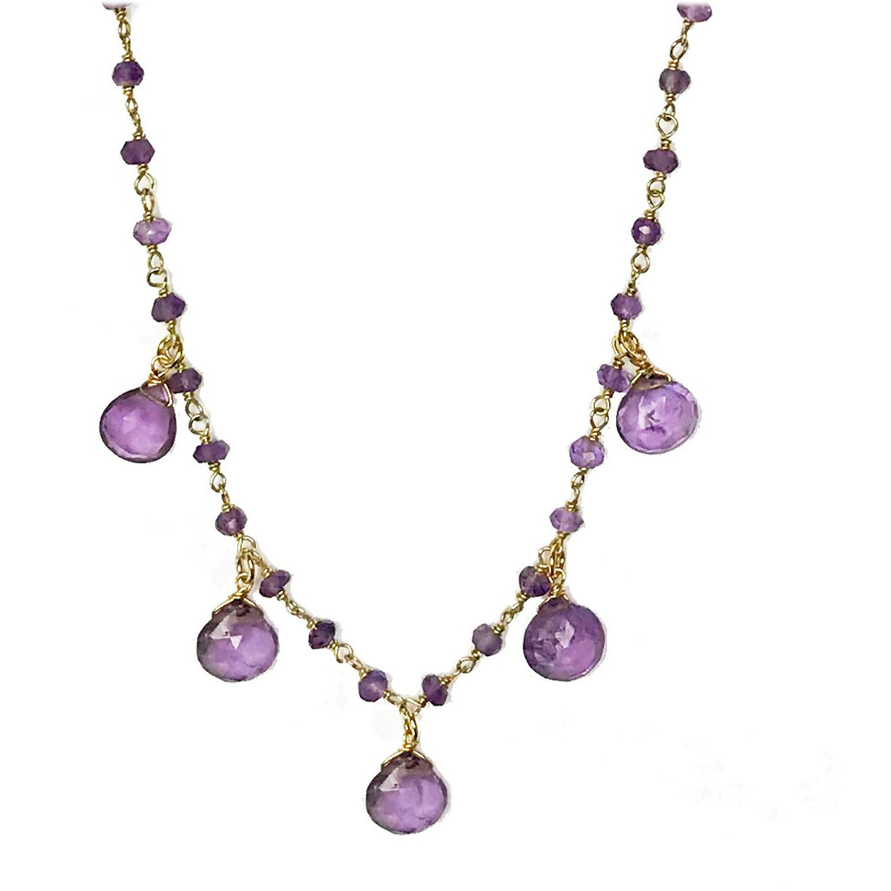Amethyst Droplet Necklace - 14k Gold Vermeil