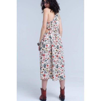 Floral Halter Midi Dress - Miraposa