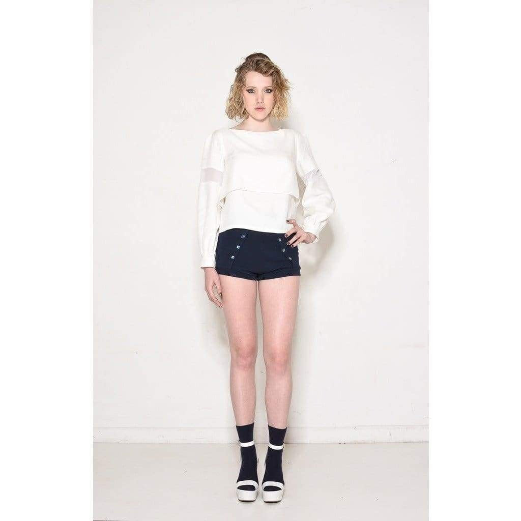 French Panel Jersey Mini Shorts - Miraposa