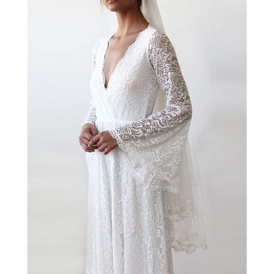 Full Lace Bell Sleeve Wedding Dress in Ivory - Miraposa