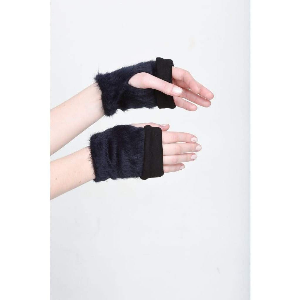 Furry Fingerless Mittens - Black