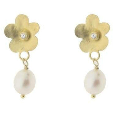 Hammered Flower & Pearl Earrings - Miraposa