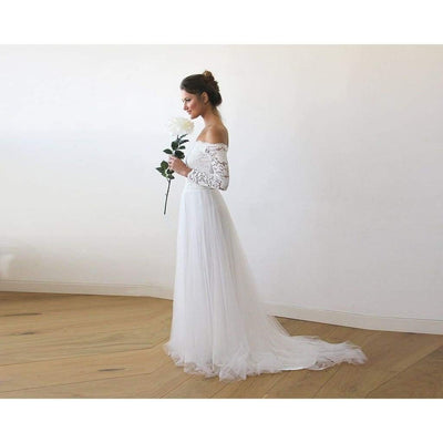 Handmade  Off-The-Shoulder Lace and Tulle Train Wedding Gown - Miraposa