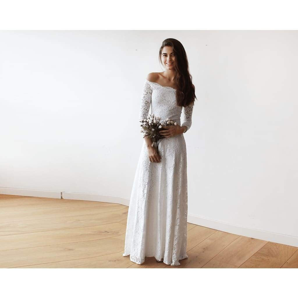 Ivory Off-The-Shoulder Floral Lace Long Sleeve Maxi Dress