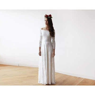 Ivory Off-The-Shoulder Floral Lace Long Sleeve Maxi Dress - Miraposa