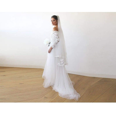 Ivory Off-The-Shoulder Lace and Tulle Train Wedding Gown - Miraposa