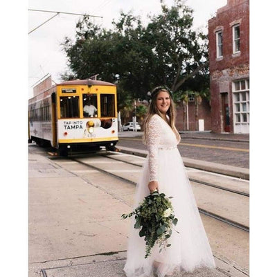 Ivory Tulle and Lace Long Sleeve Wedding Dress - Miraposa